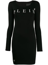 Philipp Plein Logo Print Mini Dress Black
