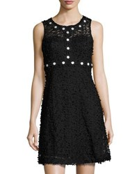 Taylor Daisy Trim Mesh Lace Sleeveless Dress Black
