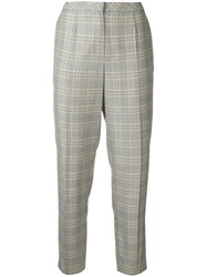 Escada Glen Check Trousers Grey