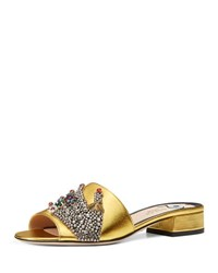 Gucci Wangy Jeweled Mule Slide Gold