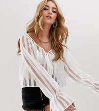 Milk It Vintage Volume Sleeve Top In Sheer Stripe White