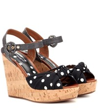 Dolce And Gabbana Polka Dot Wedge Sandals Black