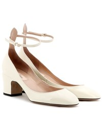 Valentino Tan Go Patent Leather Pumps White