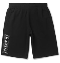 Givenchy Wide Leg Logo Print Loopback Cotton Jersey Shorts Black