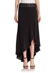 Haute Hippie Asymmetrical Silk Hi Lo Maxi Skirt Black