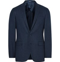 Polo Ralph Lauren Blue Slim Fit Windowpane Checked Wool And Silk Blend Blazer Midnight Blue