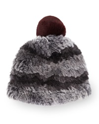 Surell Rabbit Fur Pom Pom Beanie Gray Wine