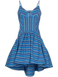 Rosie Assoulin Flared Stripe Print Dress Blue