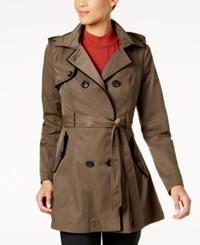 Laundry By Shelli Segal Corset Back Trench Coat Taupe Black