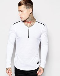 Religion Long Sleeve Top With Zip Neck And Leather Detail White