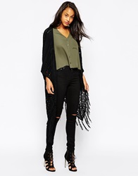 Ax Paris Longline Fringed Cardigan Black