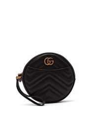 Gucci Gg Marmont Circular Leather Wristlet Pouch Black