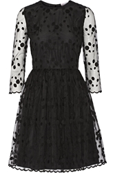 Red Valentino Layered Embroidered Tulle And Crepe Mini Dress