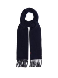 Polo Ralph Lauren Two Tone Fringed Wool Blend Scarf Navy Multi