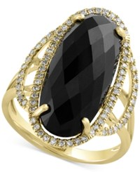 Effy Collection Eclipse By Effy Onyx 6 3 8 Ct. T.W. And Diamond 1 4 Ct. T.W. Statement Ring In 14K Gold Black