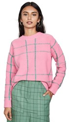 Chinti And Parker Contrast Check Sweater Peony Emerald