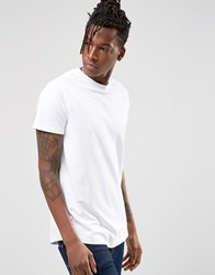 Selected Curved Longline Pique T Shirt White