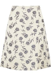 Tory Burch Wrap Effect Linen Blend Floral Jacquard Skirt Ecru