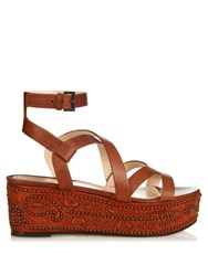 Etro Stud Embellished Flatform Sandals Tan Multi