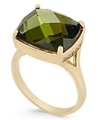 Charter Club Gold Tone Green Crystal Statement Ring Only At Macy's
