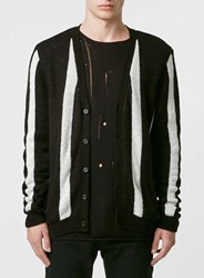 Topman Black And White Stripe Mohair Mix Cardigan