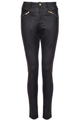 Quiz Black Pu Gold Zip Skinny Trousers
