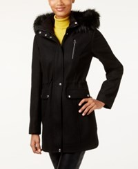 Laundry By Design Wool Blend Faux Fur Trim Walker Coat Black Black