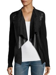 Michael Michael Kors Leather Drape Front Cardigan Black