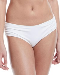 Carmen Marc Valvo Side Shirred Full Swim Bottoms White