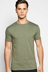Boohoo Neck T Shirt With Back Strap Detail Khaki