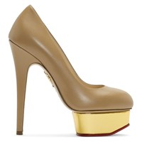 Charlotte Olympia Tan Dolly Platform Heels