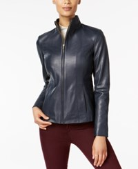 Cole Haan Leather Moto Jacket Navy