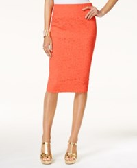 Thalia Sodi Lace Pencil Skirt Only At Macy's Vivid Coral