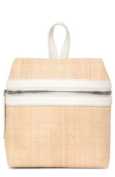 Kara Small Woven Straw Backpack Beige Natural