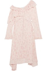 Magda Butrym Asymmetric Ruffled Silk Crepe De Chine Dress Blush