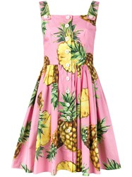 Dolce And Gabbana Pineapple Print Dress Pink And Purple