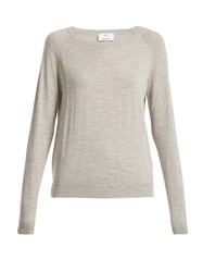 Allude Round Neck Long Sleeved Wool T Shirt Light Grey