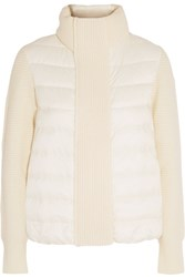 Moncler Maglione Quilted Shell And Ribbed Wool Jacket Ivory