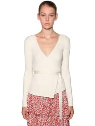Baum Und Pferdgarten Silk Ribbed Knit Wrap Sweater Ivory