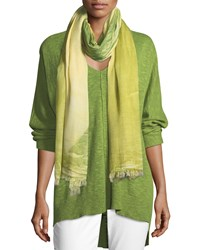 Eileen Fisher Colorfields Maltinto Fringed End Scarf Greengrass