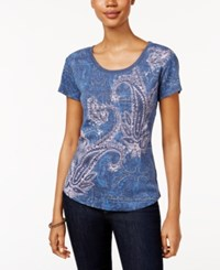 Styleandco. Style Co. Petite Graphic T Shirt Only At Macy's Dusty Blue