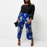 River Island Womens Plus Blue Floral Print Palazzo Trousers