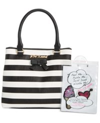 Betsey Johnson Satchel With Patches Stripe