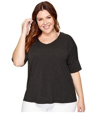 B Collection By Bobeau Curvy Plus Size Mallory Dolman Mixed Media Top Charcoal Grey Women's Long Sleeve Pullover Gray