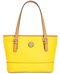 Giani Bernini Saffiano Tote Lemon Yellow Silver