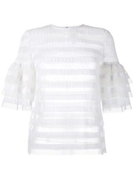 Huishan Zhang Striped Sequin Top White