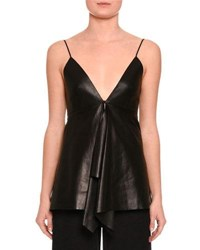 Valentino Leather V Neck Ruffled Tank Black