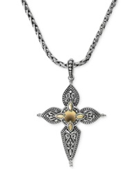 Effy Collection Balissima By Effy Cross Pendant Necklace In 18K Gold And Sterling Silver