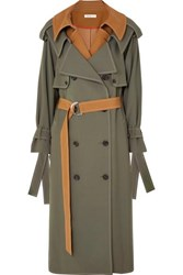 Adeam Layered Wool Blend Gabardine Trench Coat Camel