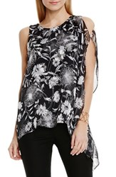 Vince Camuto Women's 'Dandelion' Chiffon Overlay Sleeveless High Low Blouse Rich Black